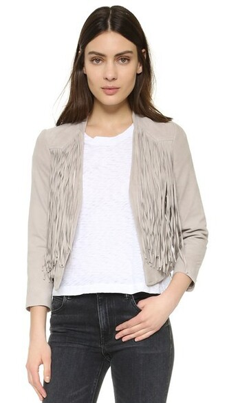 jacket fringed jacket suede grey