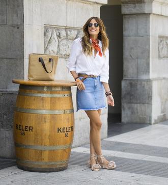 skirt tumblr mini skirt denim denim skirt sandals flat sandals shirt white shirt summer outfits scarf bag