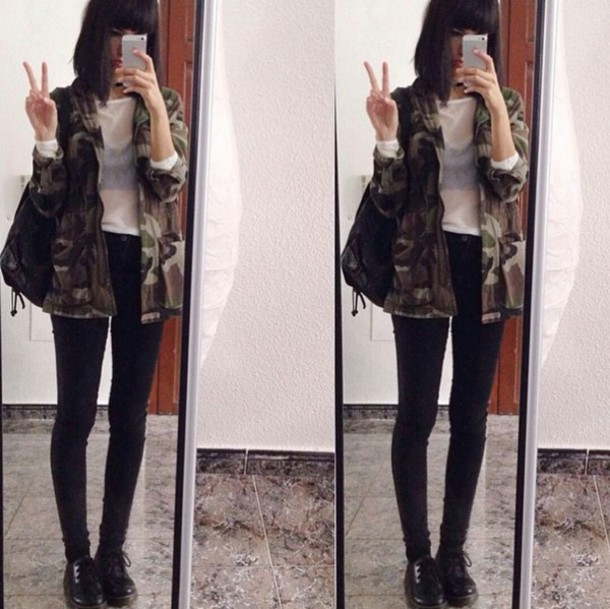 jacket camo jacket camouflage transparent shirt transparent see through mesh white top black jeans casual fashionista fashionista chill rad rock style style stylish trendy trendy trendy tumblr cool girl blogger streetwear edgy instagram camouflage goth hipster skater clothes on point clothing