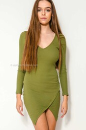 dress,dolly girl fashion,crossover hem,crossover,ribbed,winter outfits,fall outfits,Khaki dress,sexy khaki dress,bodycon dress,green and khaki dress,gold fitted dress