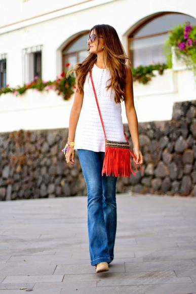 jewels blouse bag sunglasses blogger marilyn's closet blog jeans