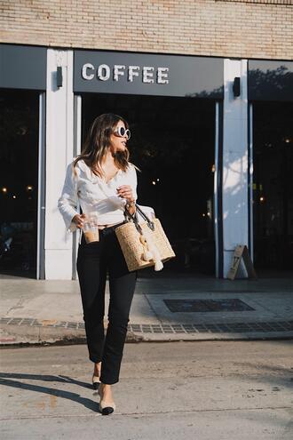top white top sunglasses tumblr wrap top bag basket bag pants black pants shoes chanel mules mules white sunglasses