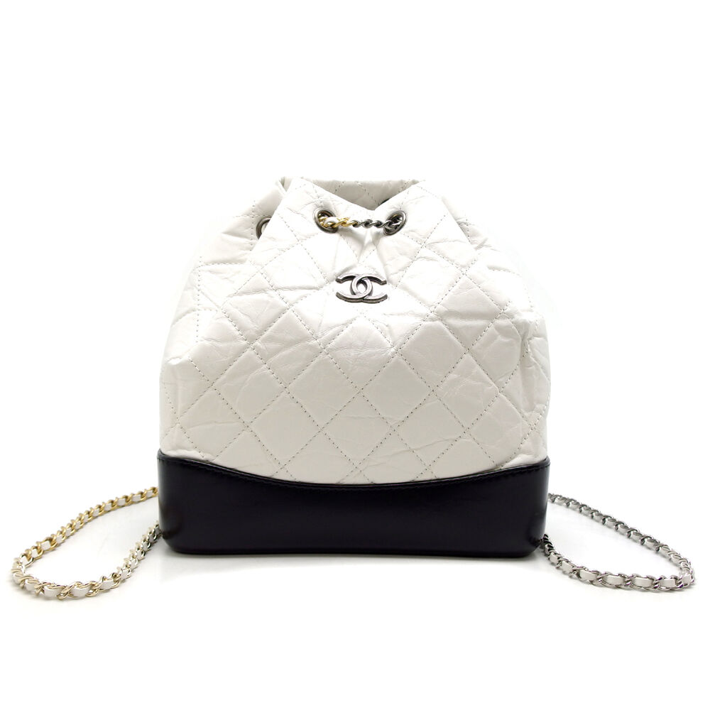 Auth Chanel White Black Leather Gabrielle Backpack Silver Gold Hardware/DH43654