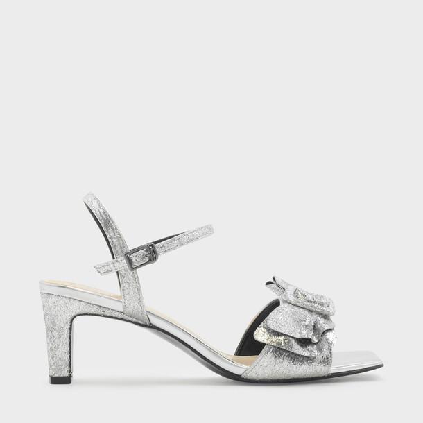 heel open sandals silver shoes