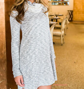 dress,heather grey,amazinglace,long sleeves,cowl neck,lace detail,transitional pieces