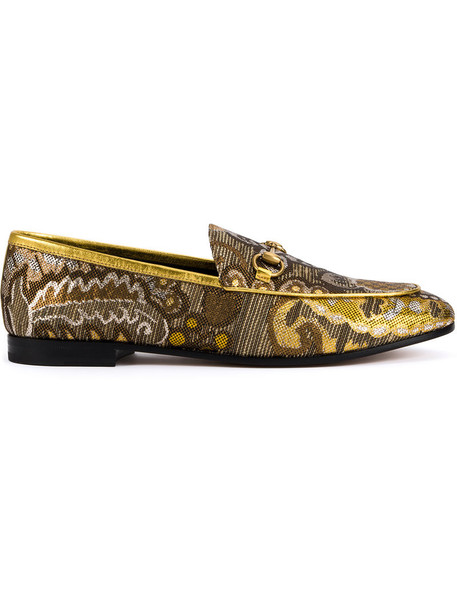 gucci women loafers floral leather silk shoes