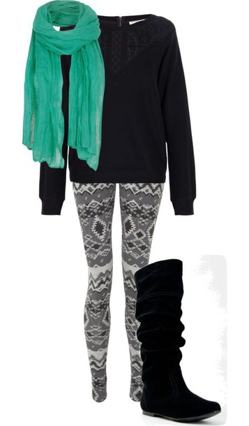 top leggings scarf shoes
