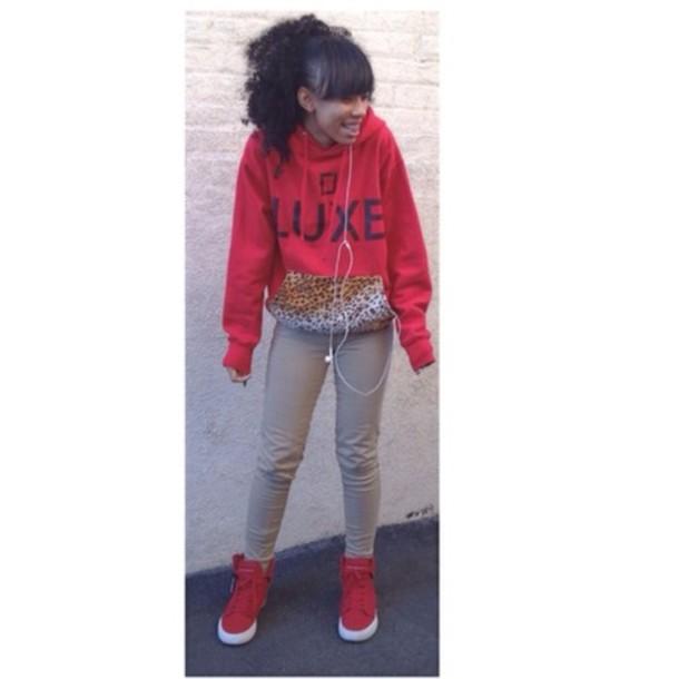 sweater sweatshirt leopard print luce dope red trill luxe
