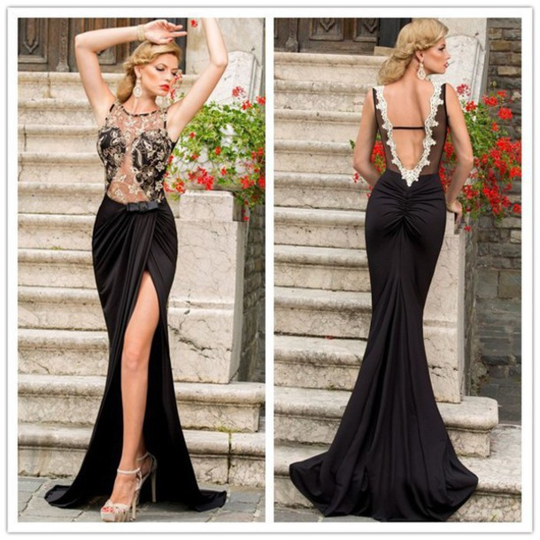Aliexpress.com : Buy Golden Appliques Black Long Evening Dress ...