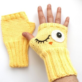 gloves winter accessories yellow fashion fingerless gloves