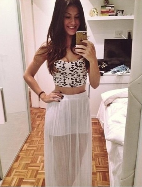 Skirt: crop tops, tank top, top, black, black prom dress, white ...