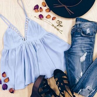 top angl clothing shop angl ladder trim top cami tank top peplum spring camisole blue baby blue periwinkle angl