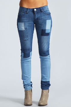 Libbie Patchwork Skinny Jeans at boohoo.com