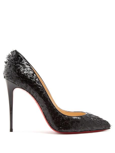 christian louboutin pumps leather black shoes