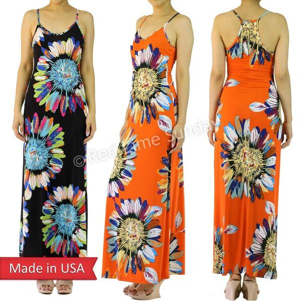 sunflower flowers black dress maxi dress orange dress orange racerback dress