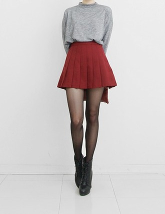 blouse skirt pleated skirt red skirt short skirt grey grey sweater grey shirt long sleeves red