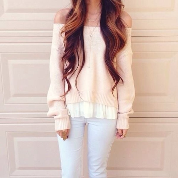 sweater white jeans jewels blouse top cute nail polish adorible cardigan shirt off the shoulder long sleeves pullover winter sweater fashion style fall outfits fall sweater pink pastel vanilla colour white sweater warm sweater off the shoulder sweater autumn/winter kawaii sweet back to school neat tumblr lazy tags hat cap suede