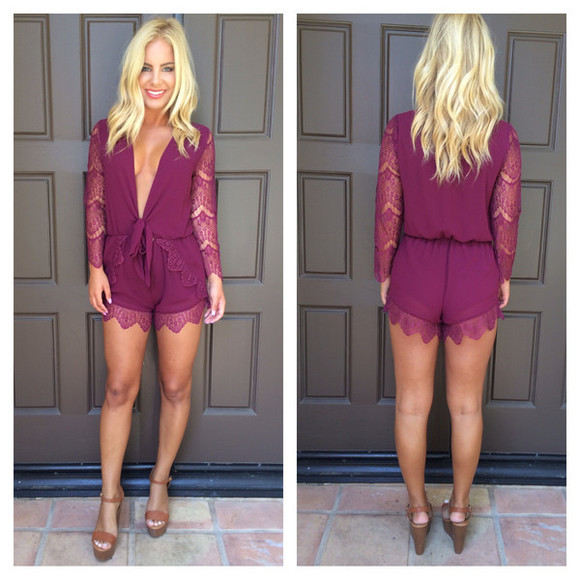 romper v neck knotted