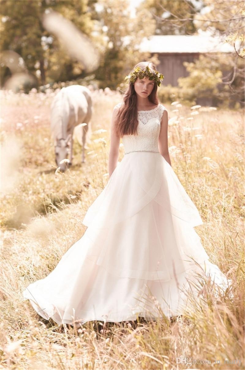 Mikaella Modest Bohemian Country Wedding Dresses A Line Vintage ...