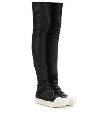 high leather black shoes