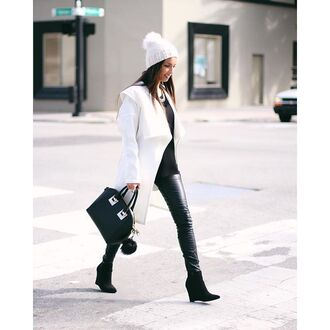 coat white coat white jacket winter white winter outfits blogger leather black black leather pants black leather jeans faux leather black outfit white and black outfit black and white black and white outfit streetstyle blogger chic all black everything streetwear perfect street look