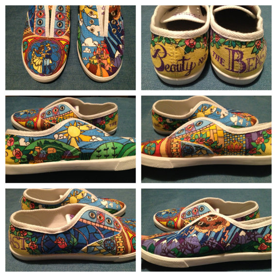 Disney Beauty and the Beast stained glass custom shoes by Opus19