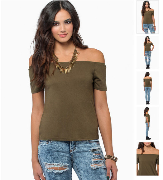 off the shoulder shirt green