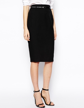 ASOS | ASOS Belted Pencil Skirt in Longer Length at ASOS