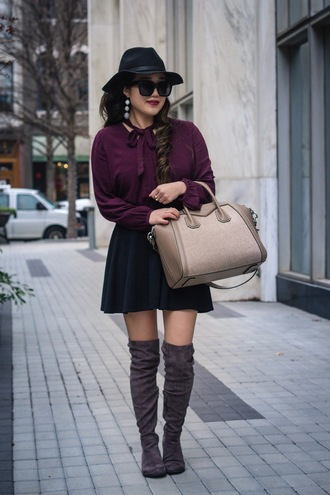 gracefullee made blogger top skirt bag jewels shoes sunglasses hat make-up mini skirt handbag givenchy bag felt hat boots suede boots over the knee boots
