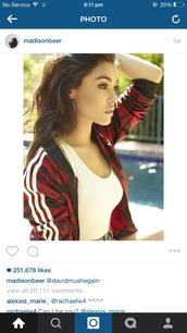 jacket,madison beer,bomber jacket,red,adidas,instagram