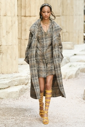 coat,chanel cruise collection,chanel,printed coat,dress,mini dress,grey dress,sandals,yellow,lace up,headband,accessories,Accessory