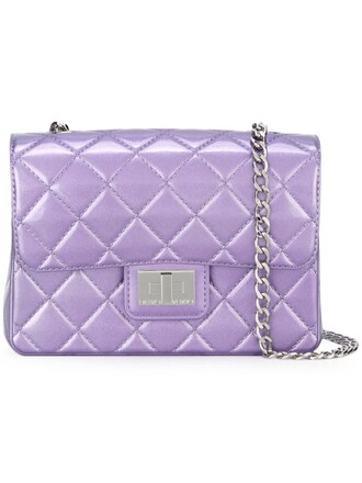 quilted bag shoulder bag purple pink