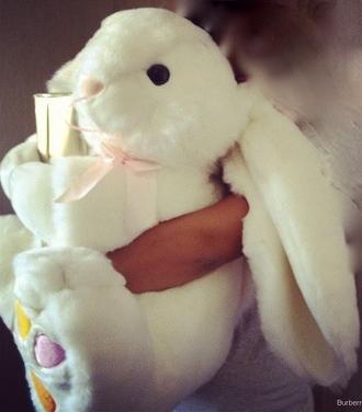 bunny pink rose stuffed animal kids room