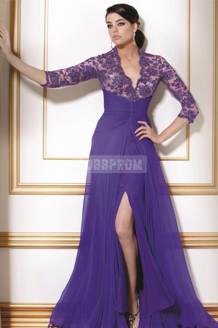 Line empire long zipper evening dress