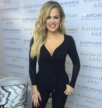 pants top khloe kardashian instagram all black everything plunge v neck blouse