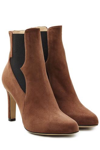 heel high heel high boots chelsea boots suede brown shoes
