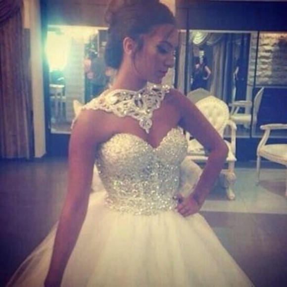 white dress wedding dress wedding clothes bridesmaid bridal dresses strass party dress