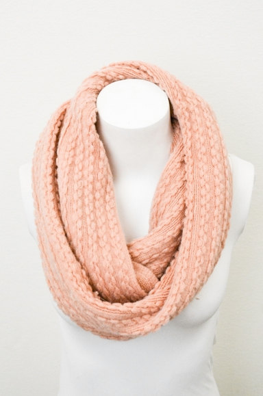 Chunky Braided Cable Knit Peach Infinity Scarf by LePetitMonkey