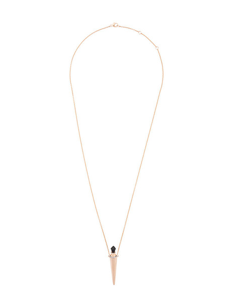 Diane Kordas rose gold rose women necklace gold grey metallic jewels
