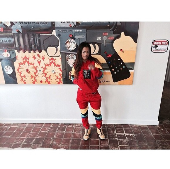multicolor sweatsuit pants sweatpants red joggingpants dope teyana taylor