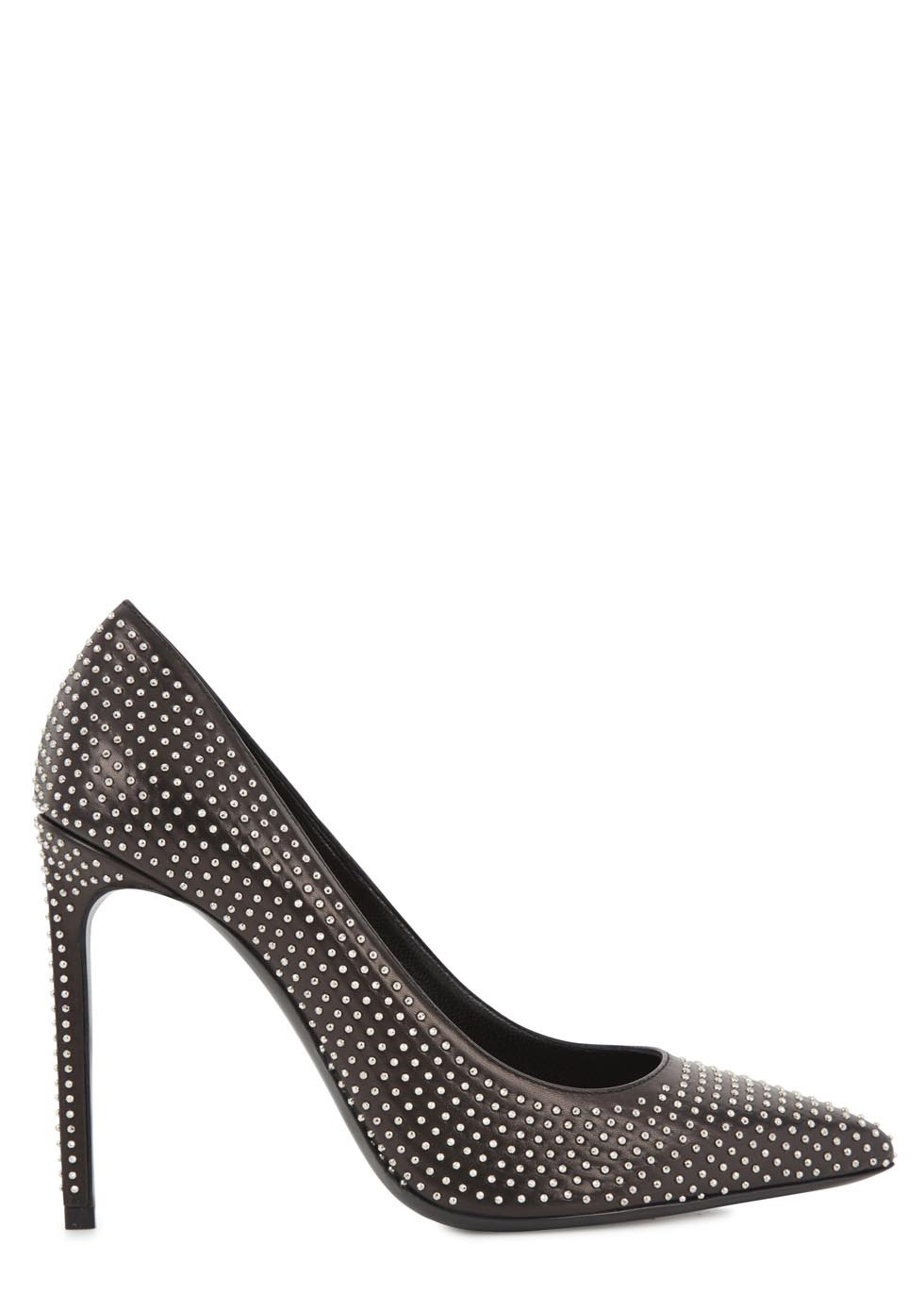 Black studded leather pumps  - Women