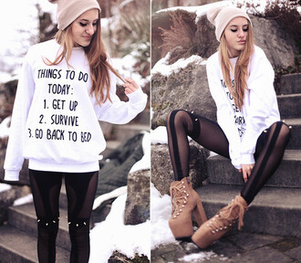 blouse things to do hoodie white black studded brown plateau jeans leggings shoes hat