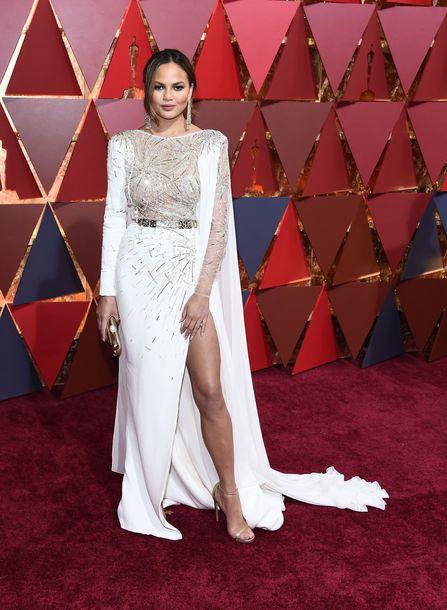 Dress Chrissy Teigen Slit Sandals Oscars 2017 Gown Long Wedding Belt Shoes Red