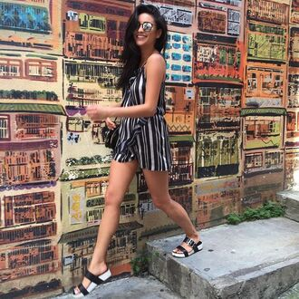 romper stripes summer outfits shay mitchell instagram sandals shoes