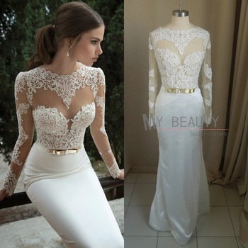 Aliexpress.com : Buy 2014 New Sexy Round Collar Sheer Lace Top White Satin Evening Gowns Long Mermaid Prom Dresses Court Train from Reliable dress shops in new jersey suppliers on 27 Dress