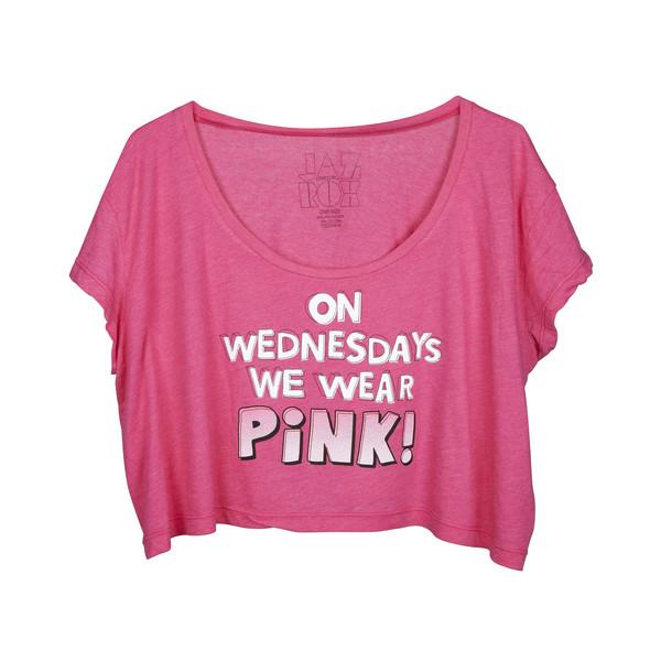top crop tops pink pink crop top mean girls wednesday wednesdays on wednesdays we wear pink