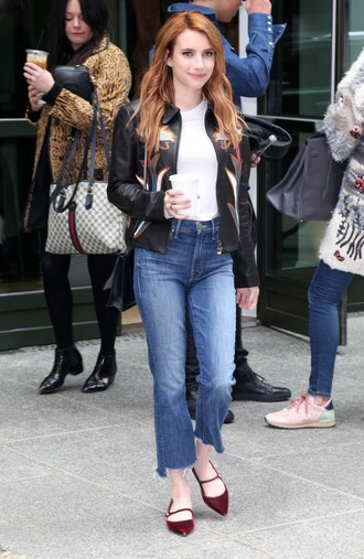 shoes flats jeans spring outfits spring jacket emma roberts top