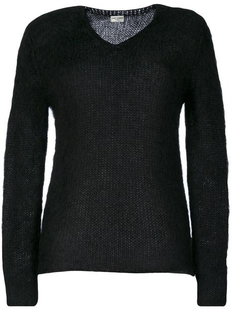 Saint Laurent sweater knitted sweater women classic mohair black wool