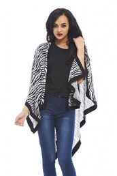 top,zebra print,print cape,zebra print cape,cape top,zebra print shawl,black and white cape,black and white shawl,www.ustrendy.com