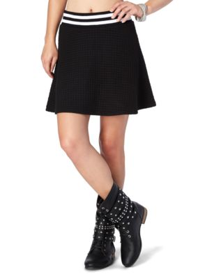 Black Athletic Quilted Skater Skirt